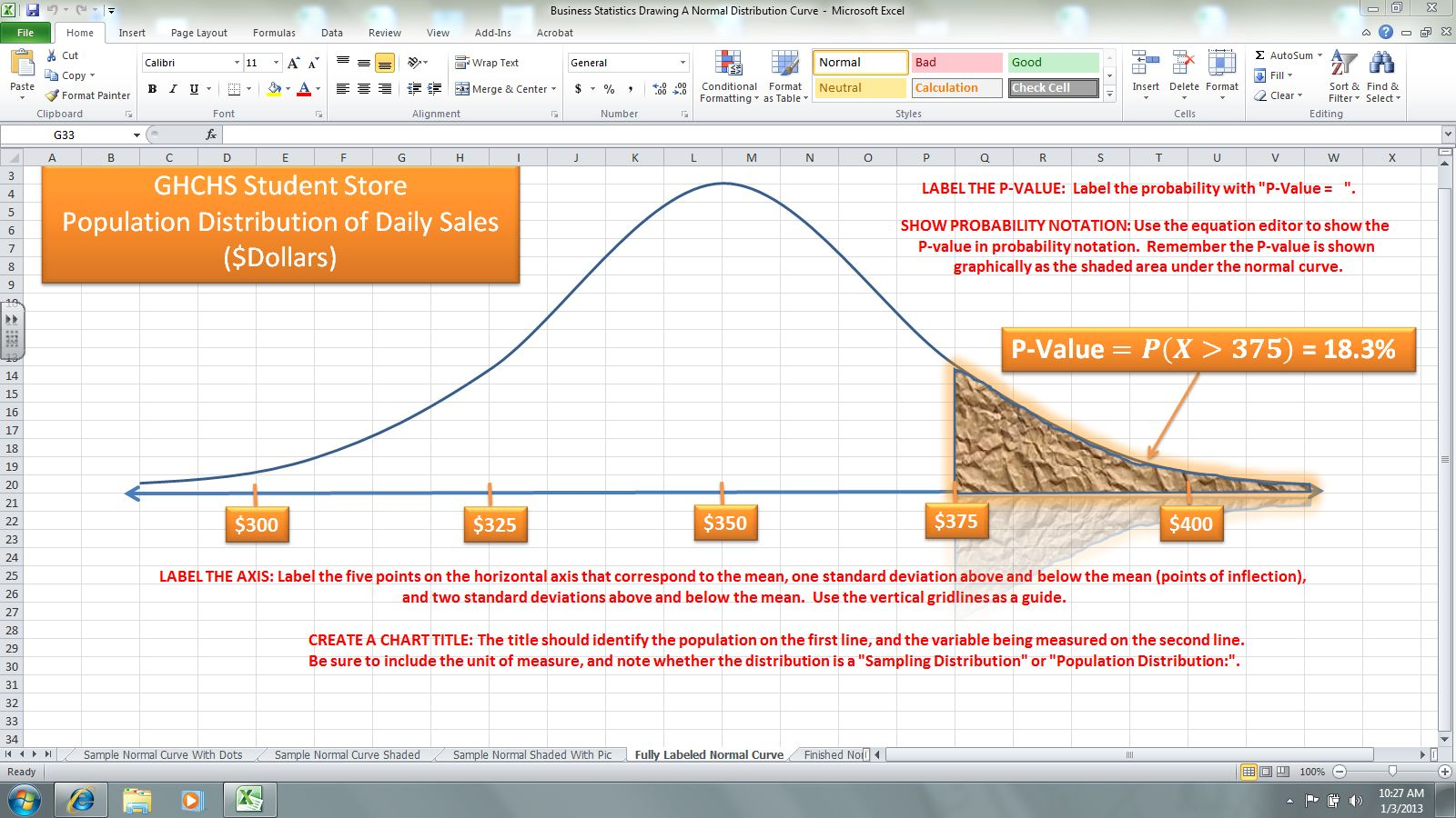 how to make a normal distribution curve in excel 2010